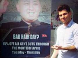 A bad Korea move? Kim Jong-un's embassy officials demand Foreign Office take action in row over use of dictator's 'bad hair day' image by hairdresser