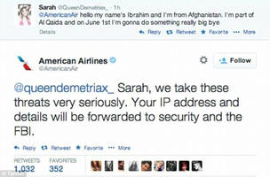 Girl sets twitter trend after sending terror tweet to American Airlines