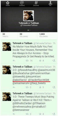 MQM MNA reveals TTP twitter hit list